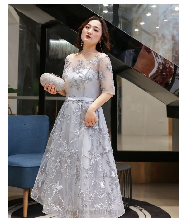 Elegant Medium Length Silver Gray Plus Size Dress Half Sleeves Crew Neck Lace-up Evening Dress New