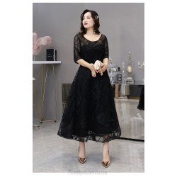 Noble Temperament Medium Length Black Plus Size Dress Crew Neck Lace-up Half Sleeves A-line Evening Dress