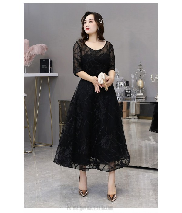 Noble Temperament Medium Length Black Plus Size Dress Crew Neck Lace-up Half Sleeves A-line Evening Dress New