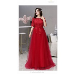 Noble Temperament Floor Length Red Lace Tulle Plus Size Dress Crew Neck Half Sleeves Lace Up Eveing Dress With Appliques
