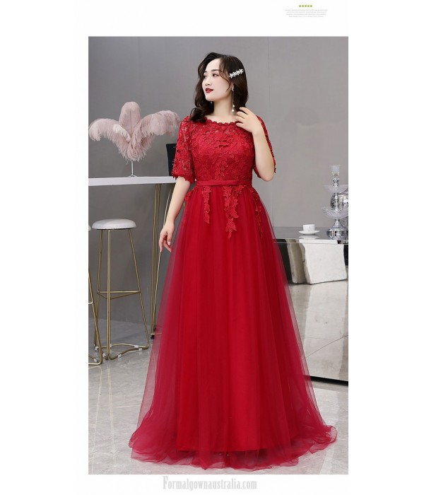 Noble Temperament Floor-length Red Lace Tulle Plus Size Dress Crew Neck Half Sleeves Lace-up Eveing Dress With Appliques New