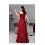 Fashion Floor-length Sequined Sparkle & Shine Red Plus Size Dress Exquisite Embroidery Illusion Crew Neck Lace-up Prom Dress With Sequines New