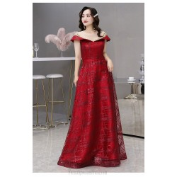 Fashion Floor-length Sequined Sparkle & Shine Red Plus Size Dress Exquisite Embroidery Illusion Crew Neck Lace-up Prom Dress With Sequines