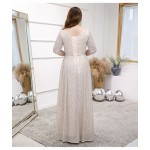 Elegant Floor-length Sequined Sparkle & Shine Champagne Plus Size Dress V-neck 3/4 Sleeves Lace-up A-line Prom Dress New
