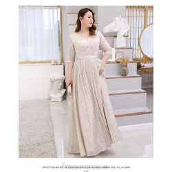Elegant Floor-length Sequined Sparkle & Shine Champagne Plus Size Dress V-neck 3/4 Sleeves Lace-up A-line Prom Dress