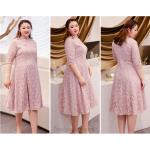 A-line Medium-length Bean Paste Powder Plus Size Dress Fashion Stand Collar Classic Button 3/4 Sleeves Zipper Back Prom Dress New