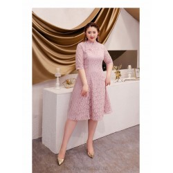 A Line Medium Length Bean Paste Powder Plus Size Dress Fashion Stand Collar Classic Button 3 4 Sleeves Zipper Back Prom Dress