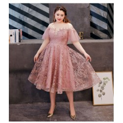 Romantic Medium Length Bean Paste Powder Tulle Lace Plus Size Dress Illusion Neck Lace Up Exquisite Embroidery Prom Dress