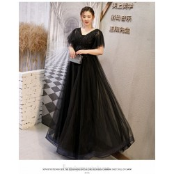 A Line Floor Length Black Tulle Lace Plus Size Dress Deep V Neck Lace Up Prom Dress With Appliques Sequines