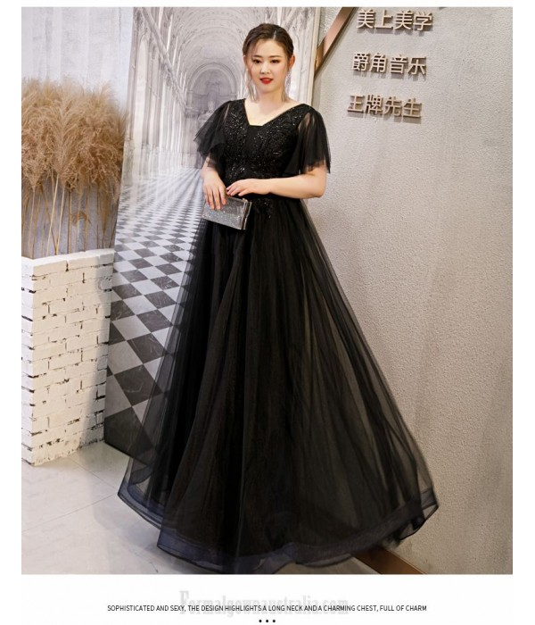 A-line Floor-length Black Tulle Lace Plus Size Dress Deep V-neck Lace-up Prom Dress With Appliques/Sequines New