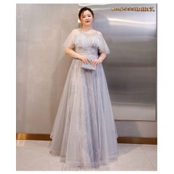 Fashion Grey Sequined Sparkle & Shine Plus Size Formal Dress Off The Shoulder Long Prom Dress With Sequines