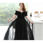 Fashion Floor-length Black Tulle Lace Plus Size Formal Dress Off The Shoulder Sequined Sparkle & Shine Lace-up Prom Dress With Sequines New