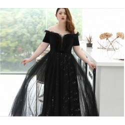Fashion Floor-length Black Tulle Lace Plus Size Formal Dress Off The Shoulder Sequined Sparkle & Shine Lace-up Prom Dress With Sequines