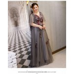 Fashion Floor-length Deep Grey Plus Size Formal Dress Handmade Stereoscopic Flowers V-neck Lace-up Prom Dress New