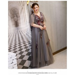 Fashion Floor-length Deep Grey Plus Size Formal Dress Handmade Stereoscopic Flowers V-neck Lace-up Prom Dress