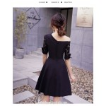 Noble and Elegant Short Black Semi Formal Dress One Shoulder Lace middle Sleeve Invisible Zipper Back Party Dress New