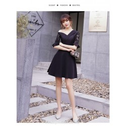 Noble and Elegant Short Black Semi Formal Dress One Shoulder Lace middle Sleeve Invisible Zipper Back Party Dress
