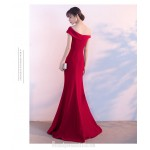Noble Temperament Mermaid/Trumpet Red Formal Dress One Shoulder Zipper Back Evening Dress With Slit New