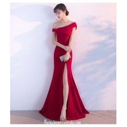 Noble Temperament Mermaid/Trumpet Red Formal Dress One Shoulder Zipper Back Evening Dress With Slit