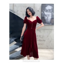 Fashion Meidum Length Burgundy Velvet Semi Formal Dress Queen Anne Zipper Back Evening Dress