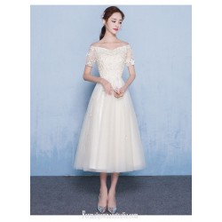 Elegant Medium-length Champagne Tulle Semi Formal Dress Off The Shoulder Lace-up Evening Dress With Appliques