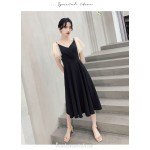 Fashion Medium-length Black Chiffon Semi Formal Dress V-neck Zipper Back A-line Evening Dress With Sequines New