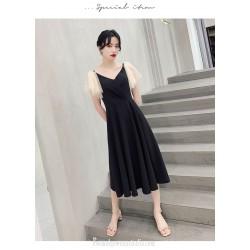 Fashion Medium-length Black Chiffon Semi Formal Dress V-neck Zipper Back A-line Evening Dress With Sequines
