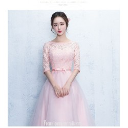 A Line Medium Length Pink Tulle Lace Semi Formal Dress Crew Neck Lace Up Half Sleeves Evening Dress