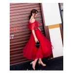 Glamorous Medium-length Red Tulle Semi Formal Dress Spaghetti Straps Zipper Back Prom Dress With Sequines New