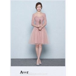 Fashion A-line Knee-length Bean Paste Powder Semi Formal Dress Crew-neck Lace-up Half Sleeves Party Dress