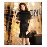 Fashion Knee-length Fish tail Black Semi Formal Dress Sequined Sparkle & Shine Invisible Zipper Back Prom Dres New