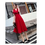 Fashion Medium-length Red Semi Formal Dress Chic Lapel Invisible Zipper Back Evening Dress New