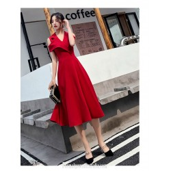 Fashion Medium Length Red Semi Formal Dress Chic Lapel Invisible Zipper Back Evening Dress