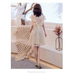 Fashion Medium-length Champagne Lace Semi Formal Dress Stand Collar Zipper Back Party Dress New