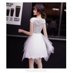 Short/Mini Irregular Skirt White Semi Formal Dress Crew-neck Zipper Back Party Dress With Sequines
