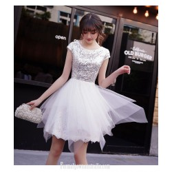 Short Mini Irregular Skirt White Semi Formal Dress Crew Neck Zipper Back Party Dress With Sequines