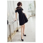 Fashion Knee-length Black Semi Formal Dress Stand Collar Invisible Zipper Back Party Dress New