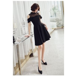 Fashion Knee Length Black Semi Formal Dress Stand Collar Invisible Zipper Back Party Dress