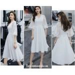 Elegant Medium-length White Semi Formal Dress V-neck Zipper Back Half Sleeves Evening Dress New