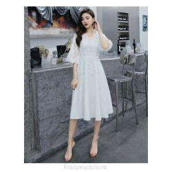 Elegant Medium-length White Semi Formal Dress V-neck Zipper Back Half Sleeves Evening Dress
