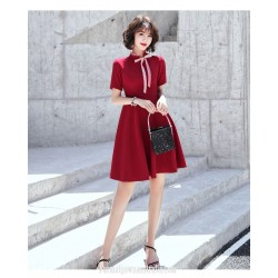 A-line Knee-length Red Chiffon Semi Formal Dress Chic Fashion Neckline Invisible Zipper Back Short Sleeves Party Dress
