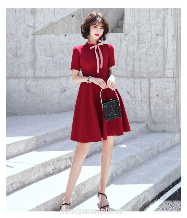 A-line Knee-length Red Chiffon Semi Formal Dress Chic Fashion Neckline Invisible Zipper Back Short Sleeves Party Dress New
