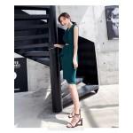Fashion Sheath/Column Knee-length Green Semi Formal Dress Chic Lapel Zipper Back Party Dress New