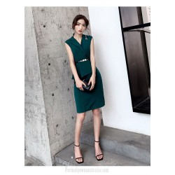 Fashion Sheath Column Knee Length Green Semi Formal Dress Chic Lapel Zipper Back Party Dress