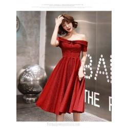 Noble Temperment Medium Length Red Semi Formal Dress Off The Shoulder Zipper Back Evening Dress
