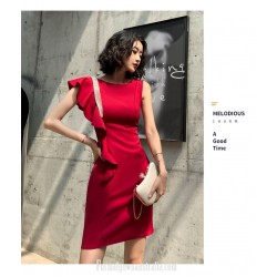 Sexy Knee Length Sheath Column Burgundy Semi Formal Dress Crew Neck Fashion Lotus Leaf Hem Zipper Back Evening Dress
