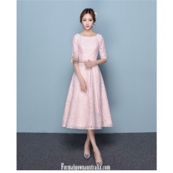 Romantic Medium Length Pink Semi Formal Dress Crew Neck Zipper Back Half Sleeves Evening Dress