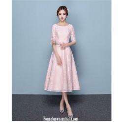 Romantic Medium-length Pink Semi Formal Dress Crew-neck Zipper Back Half Sleeves Evening Dress