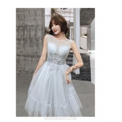 Fashion Meidum Length Grey Tulle Semi Formal Dress Illusion Neck Three Dimensional Flower With Beading Prom Dress