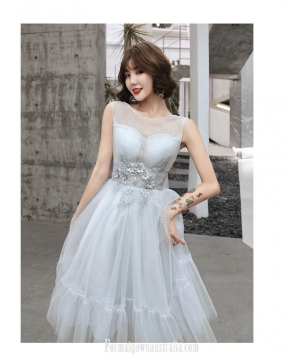 Fashion Meidum-length Grey Tulle Semi Formal Dress Illusion-neck Three Dimensional Flower With Beading Prom Dress New